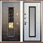 Входная дверь AURUS (Ковка-2) Сандал белый со стекло-пакетом 100 мм..
