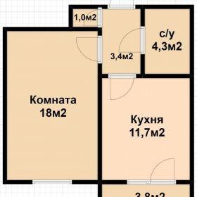 1-к квартира, 42 м2, 16/16 эт.